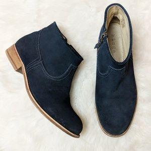 Hinge Navy Blue Suede Zip Up Ankle Bootie sz 8.5
